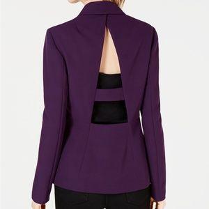 Bar III Solid Purple Open Back Blazer Jacket L